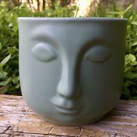 Mod Face Ceramic Sage Green Vase Planter