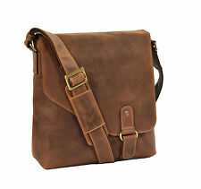 Uomo Vera Pelle Borsa a Tracolla Marrone Chiaro Vintage Messenger Casual TOP Quality IPAD BAG