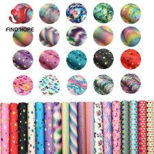 A4 A5 Floral Print iridescent FINE Glitter Fabric Decor DIY Earring Material