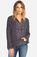 💕JOHNNY WAS Embroidered RANGO TUNIC TOP Eyelet Cupra Blouse Buttons $248 XL 💕