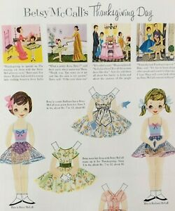 Betsy McCall Paper Doll November 1956 Magazine Page Cousin Barbara Thanksgiving