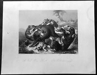 1855 A H Payne Original Antique Antique Print of A Wild Boar Hunt by J Jacobsen