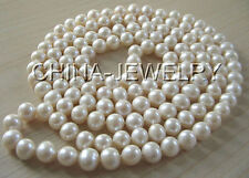 """P968- AAA 50"""" Long 9-10mm natural white round freshwater pearl necklace"""