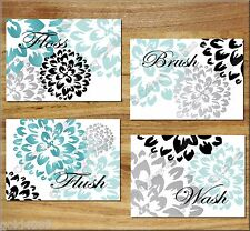 Teal/Aqua Gray and Black Bathroom Wall Art Prints Decor Floral Flower Bath Rules