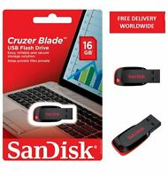 SanDisk Black USB 16GB Cruzer Blade Flash Pen Drive New Memory Retail Pack 16 GB