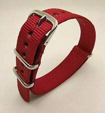 18 mm Nato Strap Correa Reloj Nylon Pulsera Watch band Red Rojo