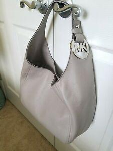 NWT Michael Kors Fulton Leather Large Size Pearl Grey MK Logo Hobo Bag