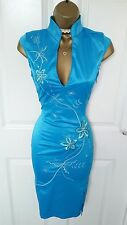 Jane Norman Turquoise Satin Oriental Pencil Dress Size 8