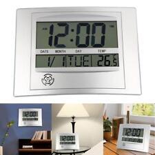 Atomic Digital LCD Home Wall Clock Alarm w/ Indoor Temperature Meter Monitor
