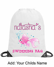 Personalised Girls Fish Pink Drawstring Gym Swimming PE Bag School Gift Any Name