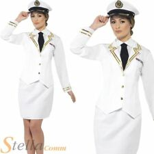 Ladies White Naval Officer Costume Military Navy Sailor Fancy Dress Outfit