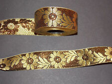 35 mm Brown Gold Flower Jacquard Embroidered Ribbon Lace Applique Trimming
