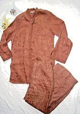Citron Santa Monica Set Tunic Top (S) Pants (M) Long Sleeves 2 Pc Set Linen Silk