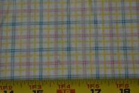 "9"" Long, Blue Pink & Yellow Plaid on Light-Peach Cotton, Maywood/Schmitz P1640"
