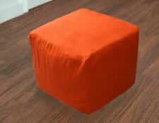 """22X22X22"""" Square Footstool Cover Orange Pouf Ottoman Cover Seating Ottoman Cove"""