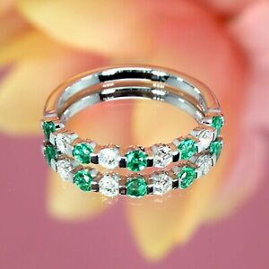 2.40Ct Round Cut Green Emerald Engagement Band Ring 14k White Gold Finish