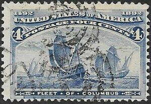 Mr B's Used #233 US Stamp 1893 -  Fleet of Columbus - 4 Cent - Free Shipping!
