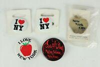 Vintage Lot of 5 New York City Big Apple Tourist Pinback Button Pins Some NOS
