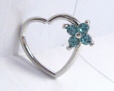 Surgical Steel Aqua Crystal Flower Heart Cartilage Hoop Ring Seamless 16 gauge