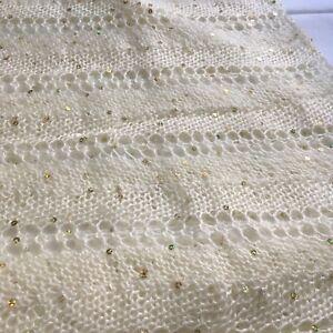 """Handmade Crocheted Beige Scarf Wrap Shawl Sparkling 16x30"""""""