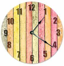 "YELLOW ORANGE WOOD Boards Clock - Large 10.5"" Wall Clock - 2179"