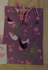 Purple cut out Butterfly sparkly 7 inch Gift Bag Pink Rope built in handle