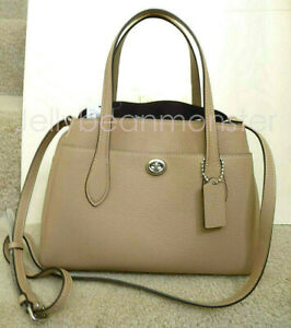 COACH 91740 Lora Pebble Leather Carryall 30 Shoulder Bag Taupe Tan NEW TAG