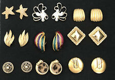 Vintage Clip On Screw Back Earrings Gold Tone Lot 9 Coro Sarah Coventry Napier