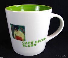 Starbucks Coffee Mug Cup Cafe Estima Blend White Lime Green Inside 16 oz 2005
