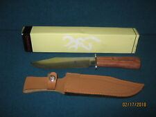 """Browning 12 1/2"""" Bowie Knife part # 322-095 with leather sheath & box"""