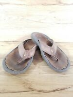 Women's used Olukai tan leather stitched thong flip flops sandals size 9 :sh002