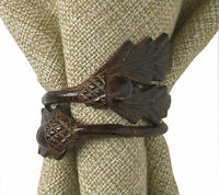 Acorn Leaf Napkin Rings by Park Designs, Brown Burl Finish, Set of Four, 23-060