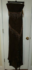 BICICI  BROWN BEADED LONG PROM FORMAL DRESS EVENING WEAR LADIES SIZE X LARGE