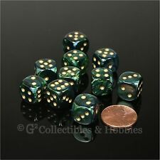 NEW 10 Jade Green Blue Scarab 12mm D6 Dice Set D&D RPG Game MTG Magic WARHAMMER