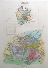 BRISTOL, ENGLAND, Street Plan, Dawson Original antique map 1832