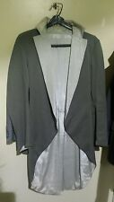 Tuxedo Frock coat shark color handmade, Grey, Jacket size 40, Mourning Suits