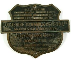 Industrial Cast Brass Machine Plate Lancashire Dynamo & Crypto Ltd Manchester