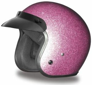 Daytona Cruiser Helmet Pink Metal Flake 3/4 Open Face DOT XS-2XL