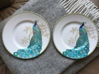 "222 FIFTH ""PEACOCK GARDEN"" SET OF 2 SALAD PLATES, Width 8 7/8"", BEAUTIFUL!!!"