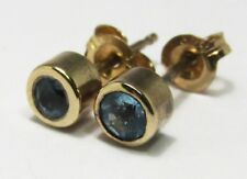 100% Genuine Vintage 9K Solid Yellow Gold 0.20cts Topaz Stud Earrings