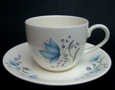 1980's Poole Harebell Pattern Concert Shape Tea Cups & Saucers Look in VGC