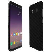 Skinomi Black Carbon Fiber Skin+Clear Screen Protector For Samsung Galaxy S8