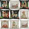 """18"""" Christmas Dog Print Pillow case Sofa Home Decor Cotton Linen Cushion Cover"""