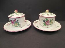 2 Sets Luneville Pots de Creme Lids Underplates K&G France French Porcelain