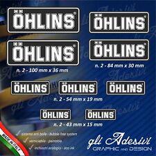 Set 9 Adesivi OHLINS moto auto Nero e Bianco