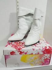 Chinese Laundry Jenny White Ruched Leather Ankle Boots Size 8.5 M New In Box