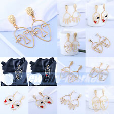 Womens Lady Gold Plated Abstract Face Earrings Ear Stud Dangle Drop Hook Jewelry