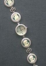 100% GENUINE FULL HALLMARK solid 925 STERLING silver AQUA JADE CAMEO watch 7.5""