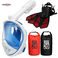 180° Full Face Snorkel Mask / Diving Fins / Waterproof Dry Bag for Outdoors Lot