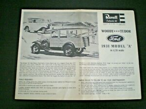 "Revell H-1275 ""31 Ford Model A WOODY "" Original Model Car Instruction sheet 1964"